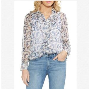 Vince Camuto Floral Ruffle Chiffon Blouse Top